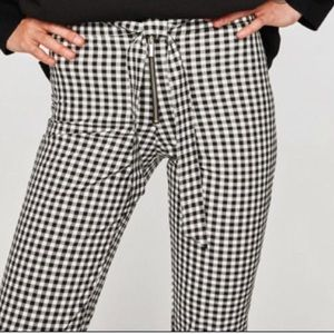 Zara checked gingham black and white trousers